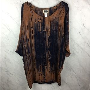 Anthropologie H. Fredriksson Silk Woodgrain Dress